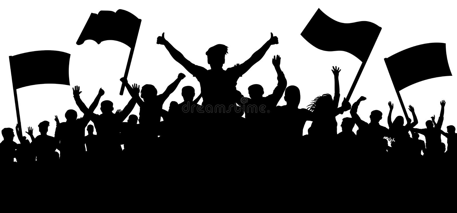 Silhouette cheer crowd people. Audience cheering applause, clapping. stock illustration