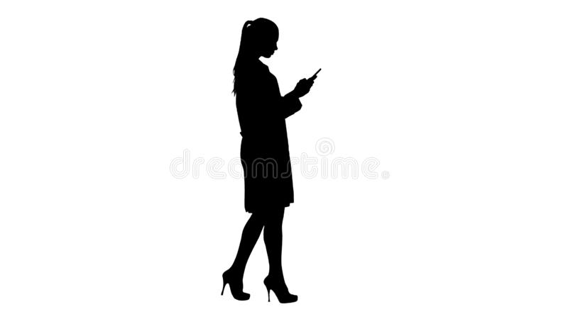 Silhouette Cheerful cute young woman doctor typing text on phone while walking. royalty free illustration
