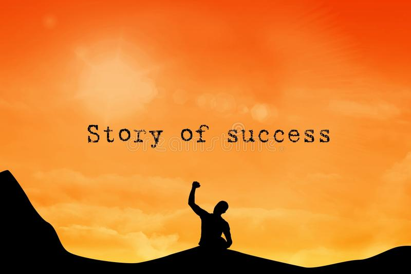 Silhouette of cheering person. Composite of silhouette of cheering person with story of success text vector illustration