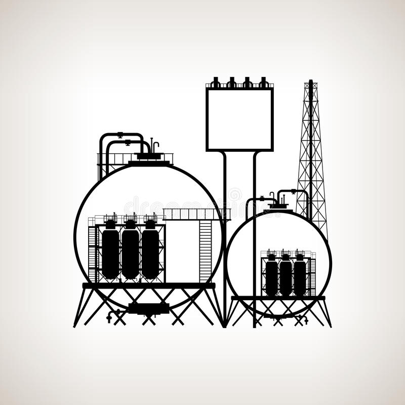 Silhouette of a chemical plant. Or refinery processing of natural resources, or a plant for the manufacture of products on a light background. Chemical factory royalty free illustration