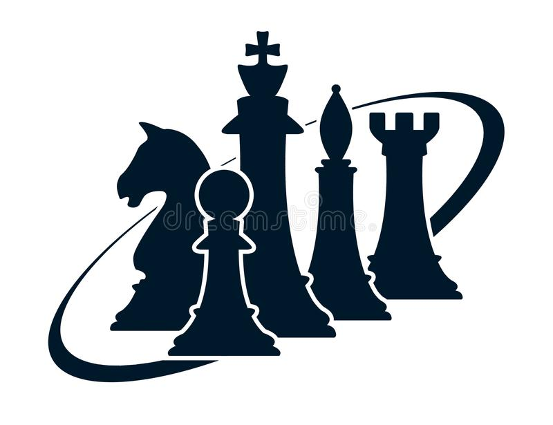 Silhouette of chess figures on white royalty free illustration