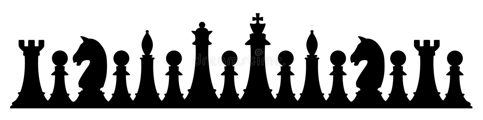 Silhouette of chess figures on white vector illustration