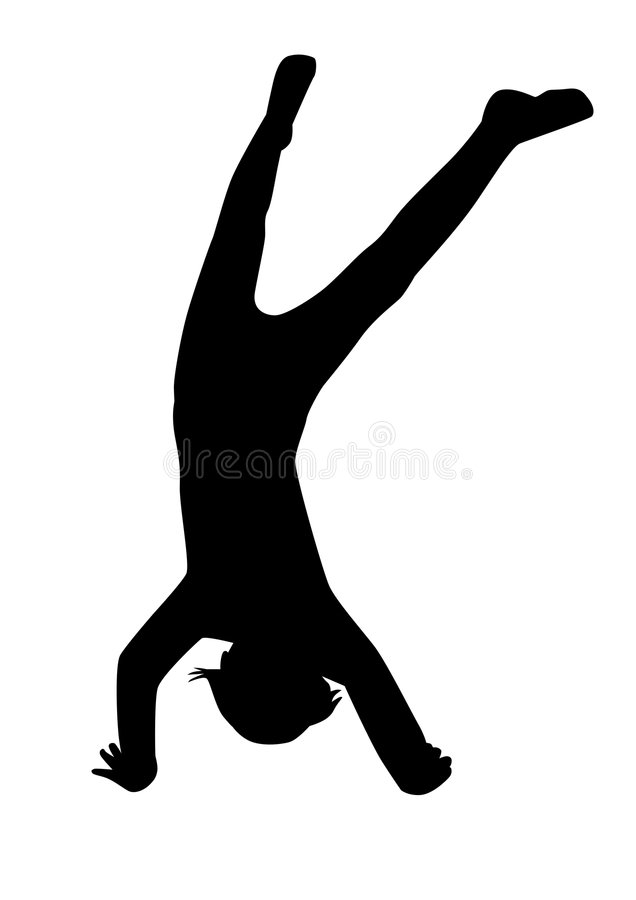 Silhouette of the child. Doing a handstand stock illustration