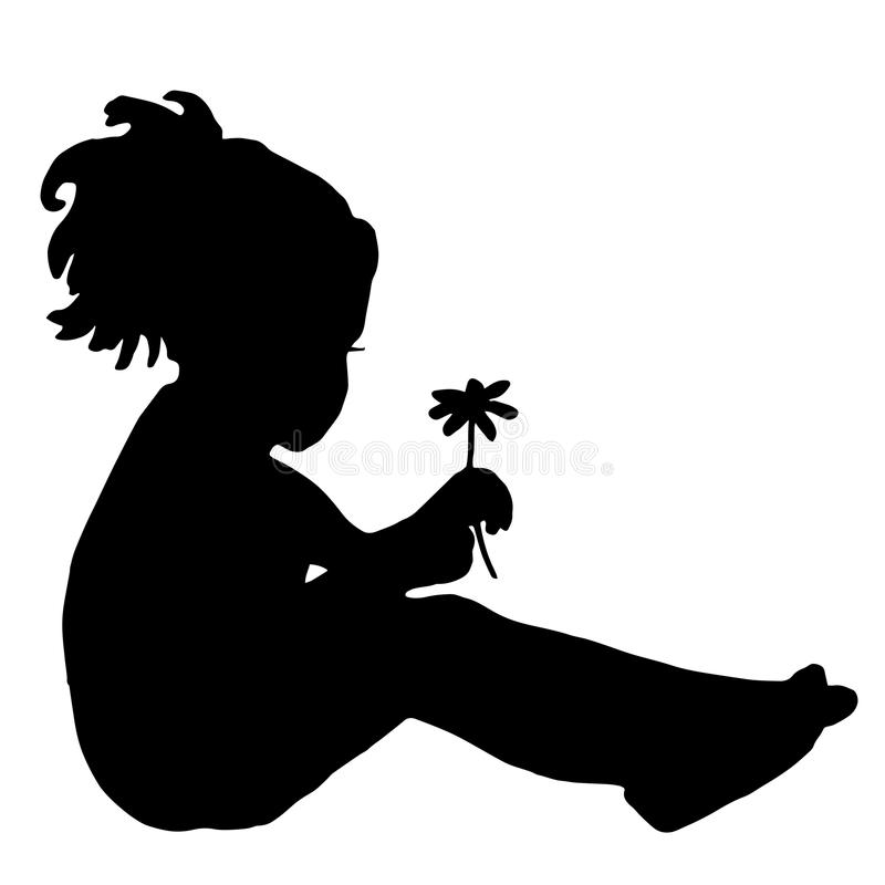 Silhouette of a child with chamomile. High quality original trendy vector illustration of a Silhouette of a child with chamomile vector illustration