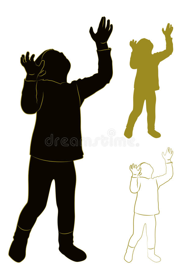 Silhouette of a child. Silhouette and contour of the child. Looking up raising his head. Vector illustration royalty free illustration