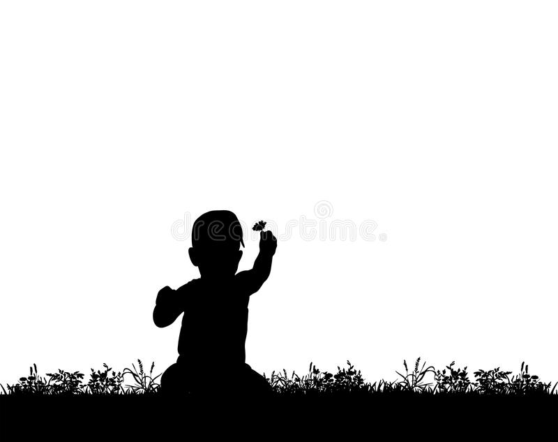 Silhouette of a child with a flower royalty free illustration