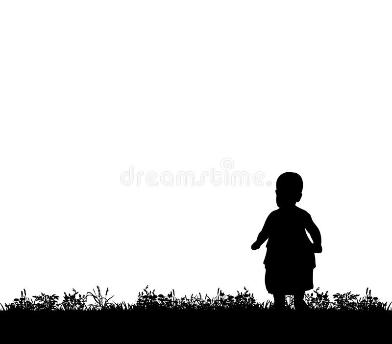 Silhouette of a child walking on grass. Vector, silhouette of a child walking on grass stock illustration
