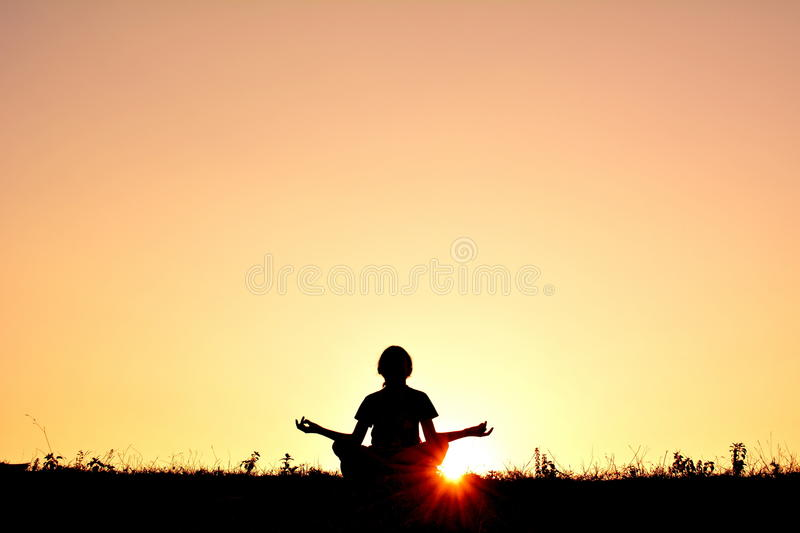 Silhouette children yoga royalty free stock photography