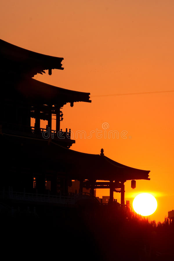 Silhouette Of China Old Pagoda Royalty Free Stock Image