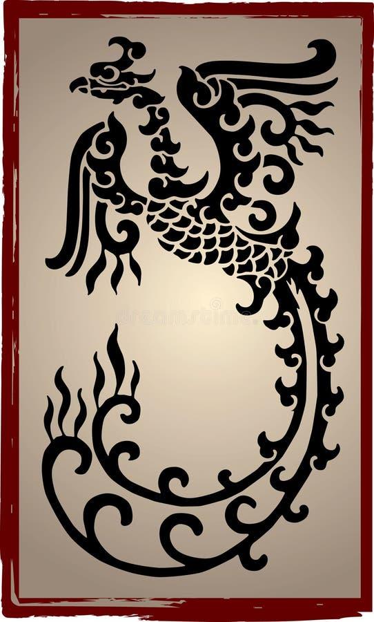 Silhouette chinoise de dragons - tatouage illustration libre de droits