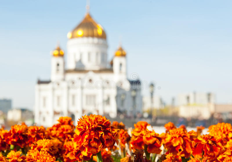 Silhouette of Christ the Savior Cathedral, Moscow, Russia royalty free stock photography