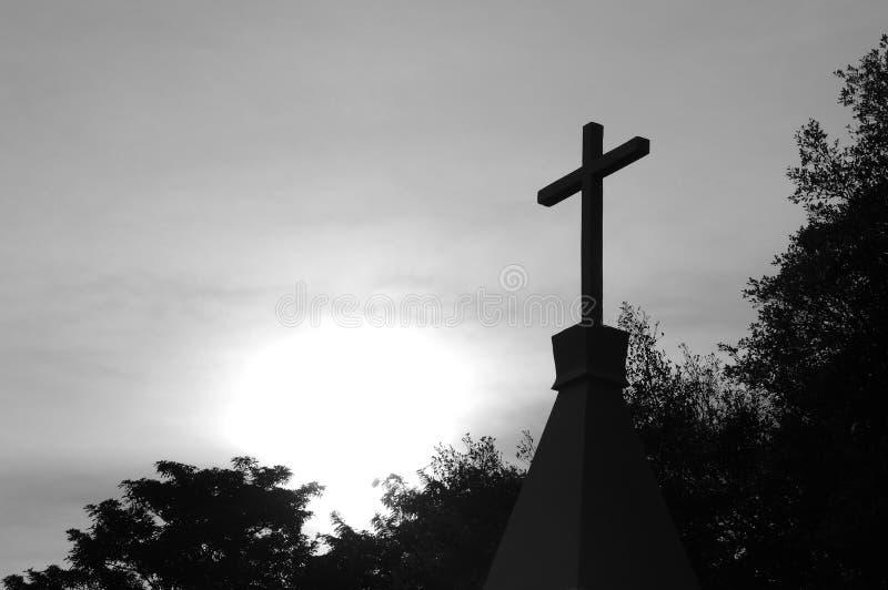 Silhouette of Christian cross. Christian cross symbol shape concept of religion metaphor to God, Christ, Christianity, life, religious, faith, holy, spiritual stock photo