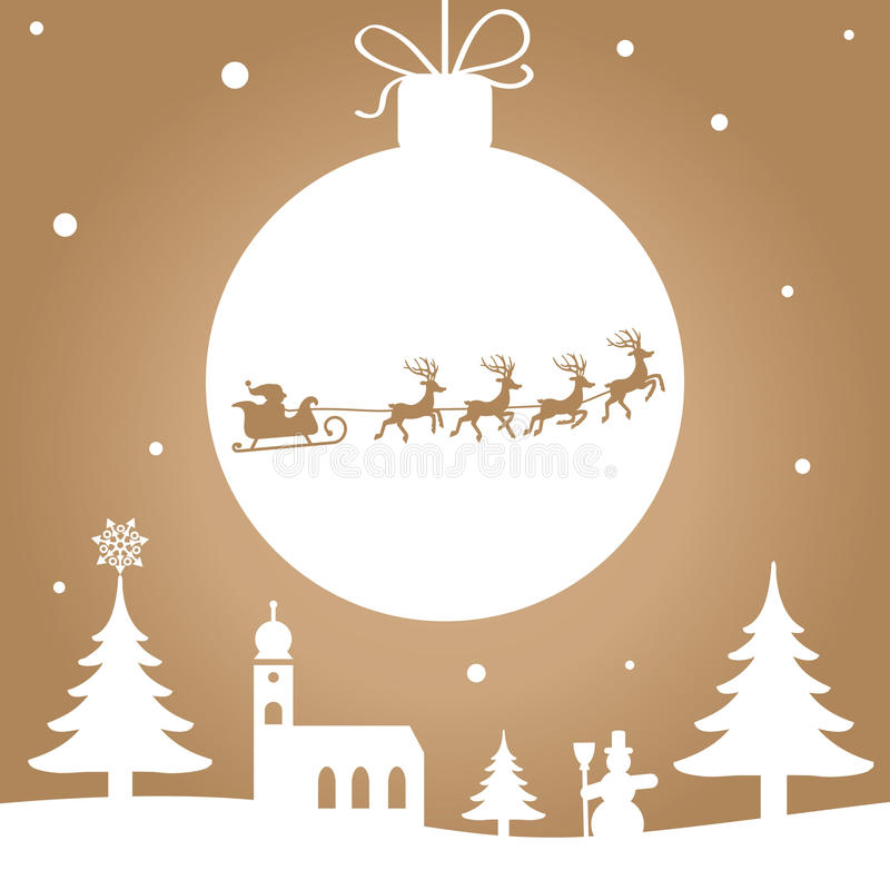 Silhouette - Christmas greeting card gold stock illustration