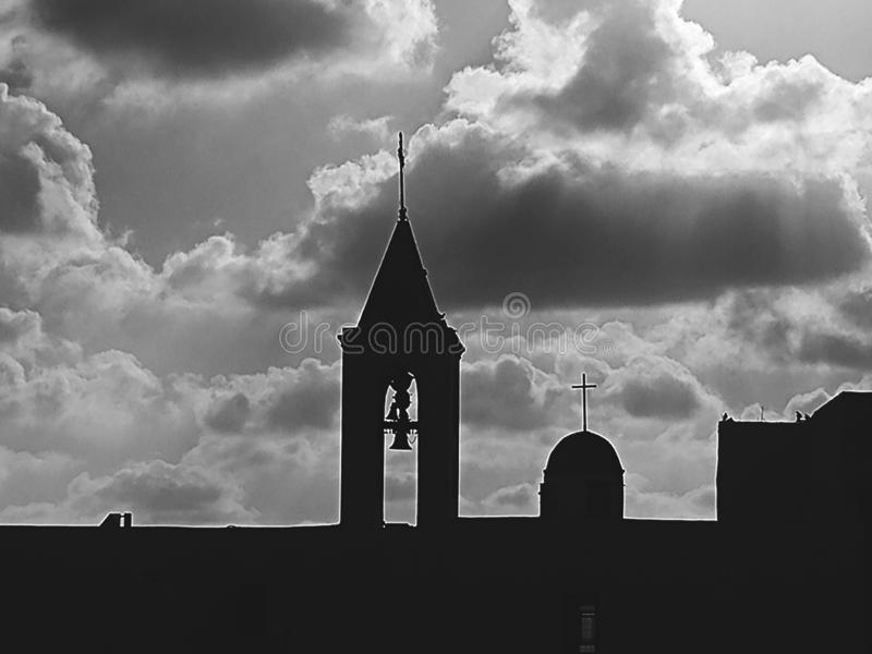 silhouette Church in black and white royalty free stock photos