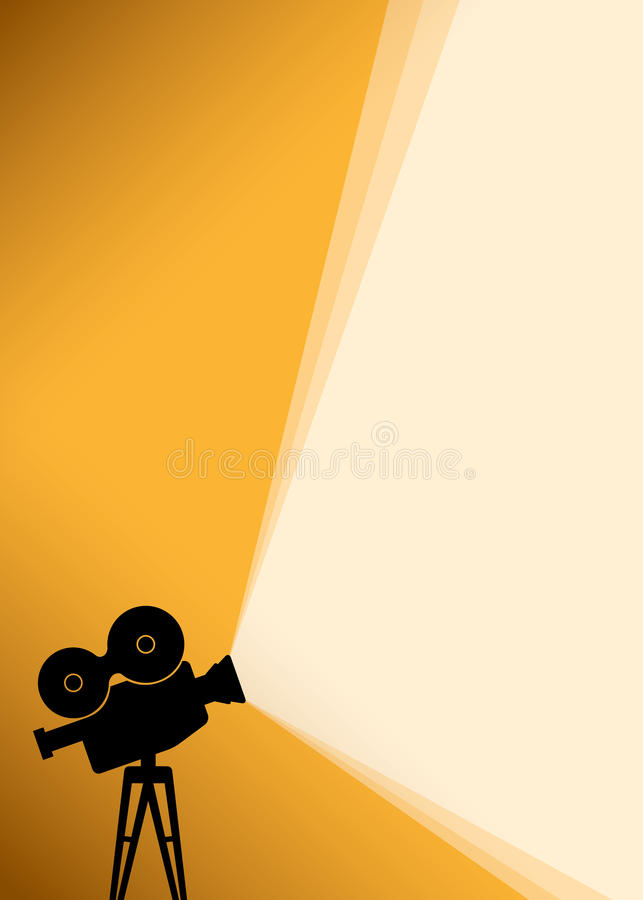 Silhouette of Cinema camera on yellow banner vector illustration