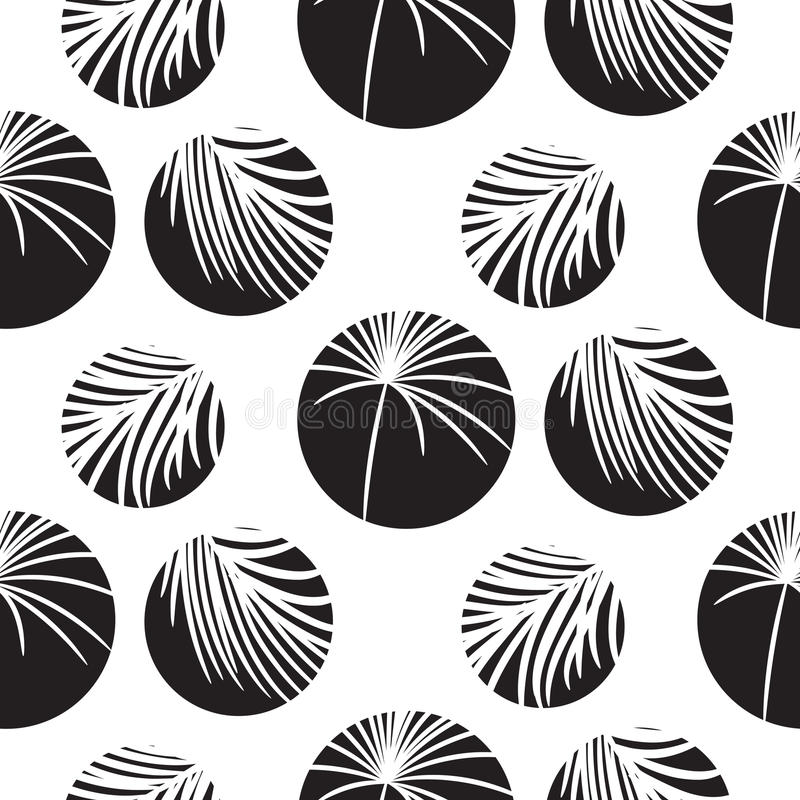 Silhouette circles and palm leaves black seamless vector pattern. vector illustration