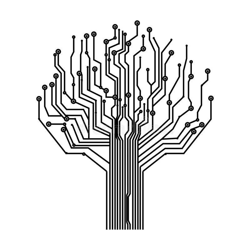 silhouette circuit board tree background stock illustration