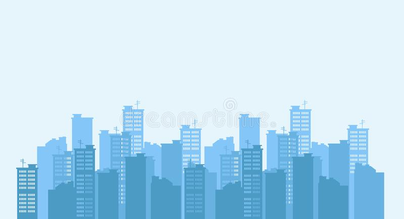 Silhouette of the city. Cityscape background. Urban landscape. stock illustration