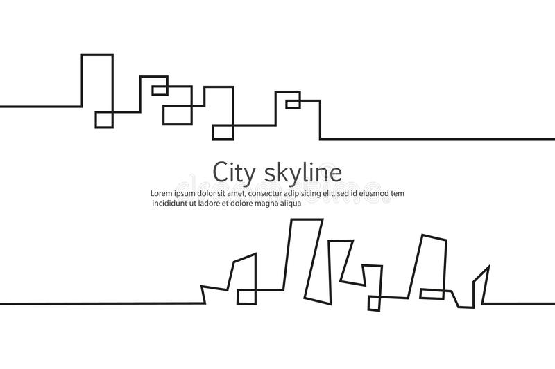 Silhouette of the city in a flat style. Modern urban landscape. Vector illustrations. City skyscrapers building office. Horizon.Continuous line drawing vector illustration