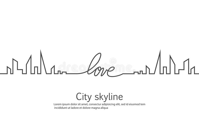 Silhouette of the city and heart and love in continuous drawing lines in a flat style. Modern urban landscape. Vector. Illustrations. City skyscrapers building stock illustration