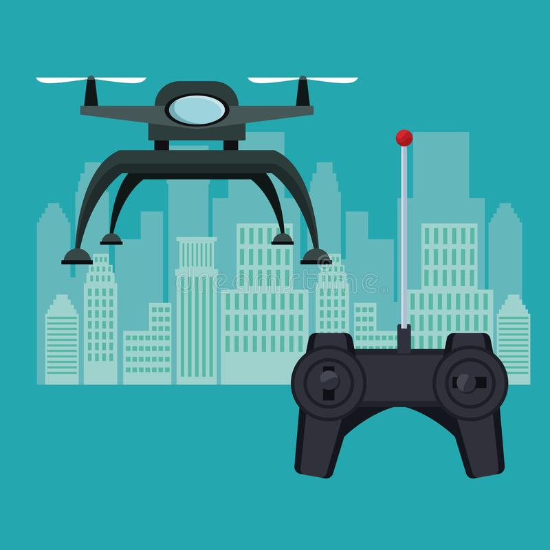 Silhouette city landscape with remote control and black robot drone with two airscrew flying and base. Vector illustration stock illustration
