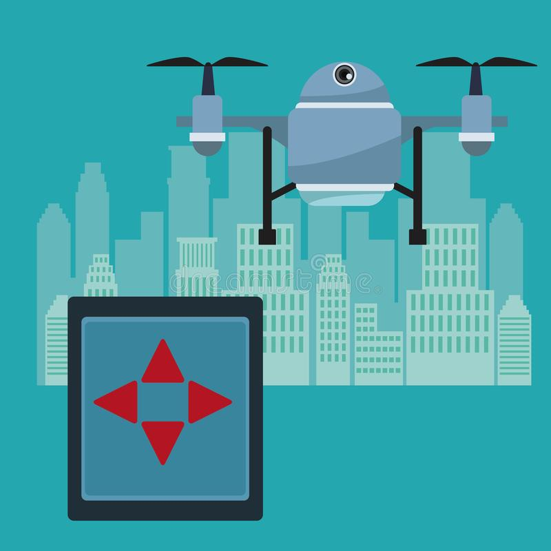 Silhouette city landscape with remote control and blue robot drone with two airscrew flying. Vector illustration vector illustration
