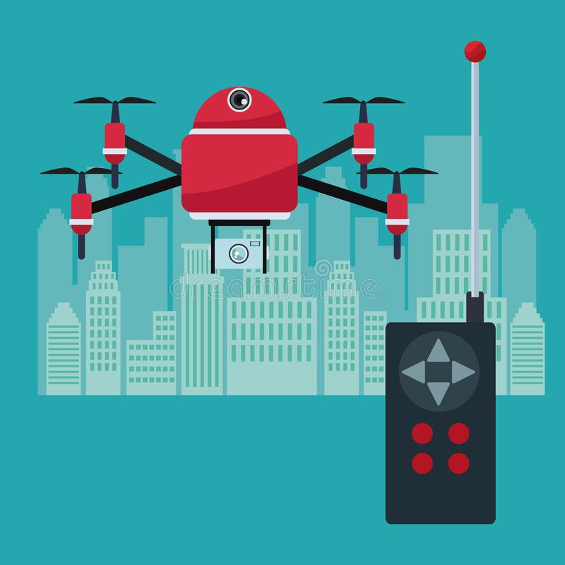 Silhouette city landscape with remote control and red robot drone with four airscrew flying and camera device. Vector illustration stock illustration