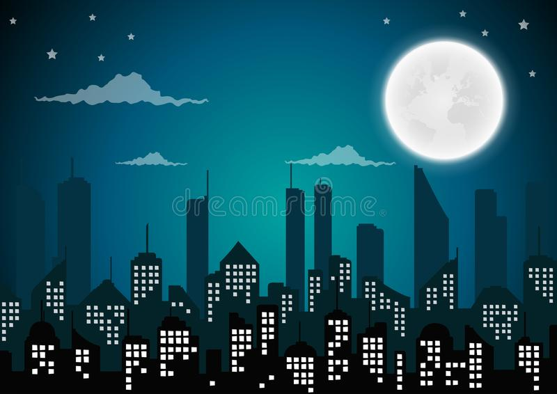 Silhouette of the city and night with full moon at the sky. Vector royalty free illustration
