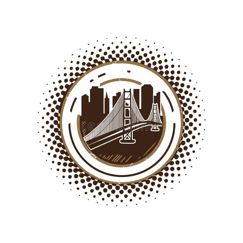 silhouette city for Retro vintage эмблема / эмблема вдохновляет дизайн логотипа иллюстрация штока