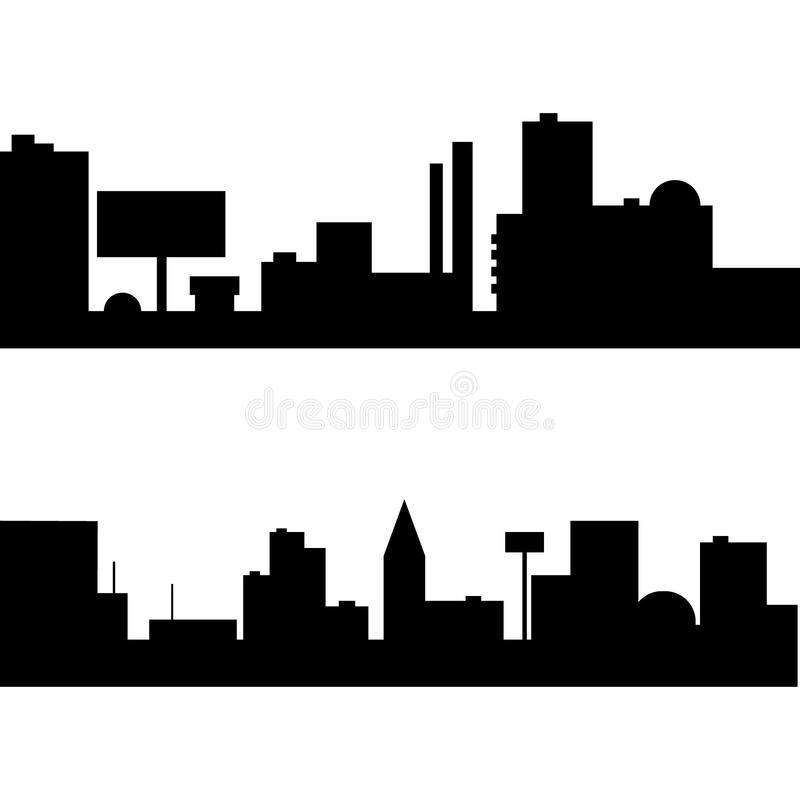 Silhouette of city set royalty free stock photos