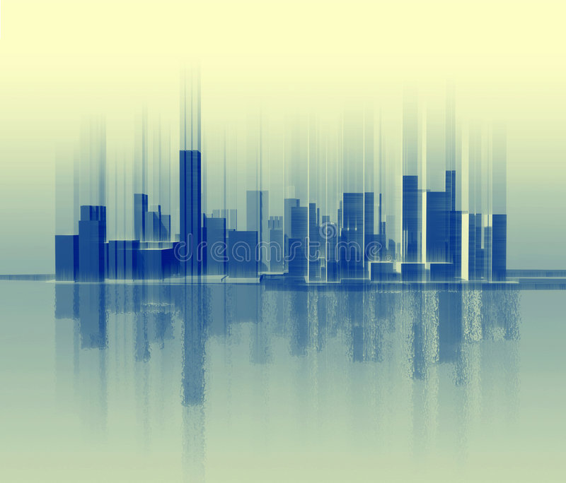 Silhouette of city which is similar to a sound wave royalty free stock photos