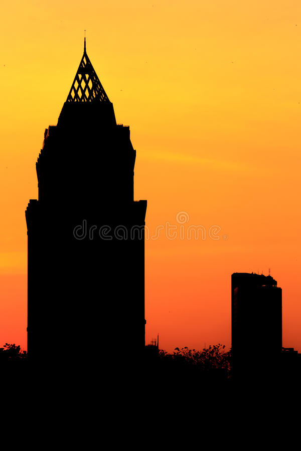 Silhouette Cityscape Sunset. Center City Bangkok scenic skyline cityscape silhouette with skyscraper buildings and historic landmarks with spectacular color royalty free stock photo