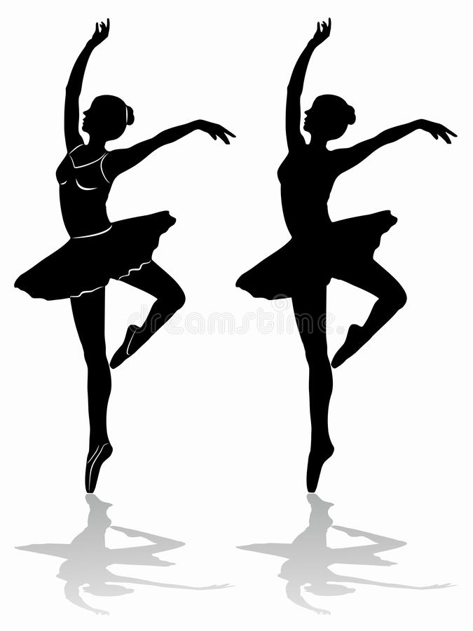 Silhouette of a ballet dancer, vector draw stock illustration