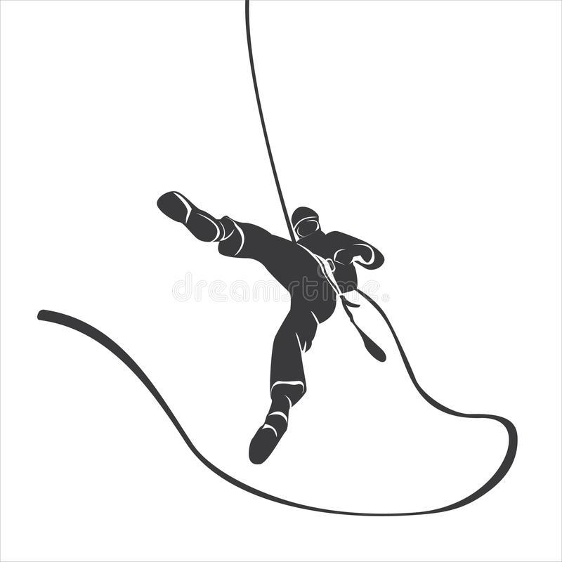 Silhouette of a climber abseil stock photography