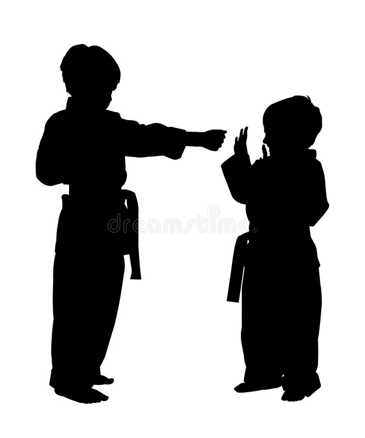 Silhouette With Clipping Path. Silhouette over white with clipping path. Children doing martial arts vector illustration