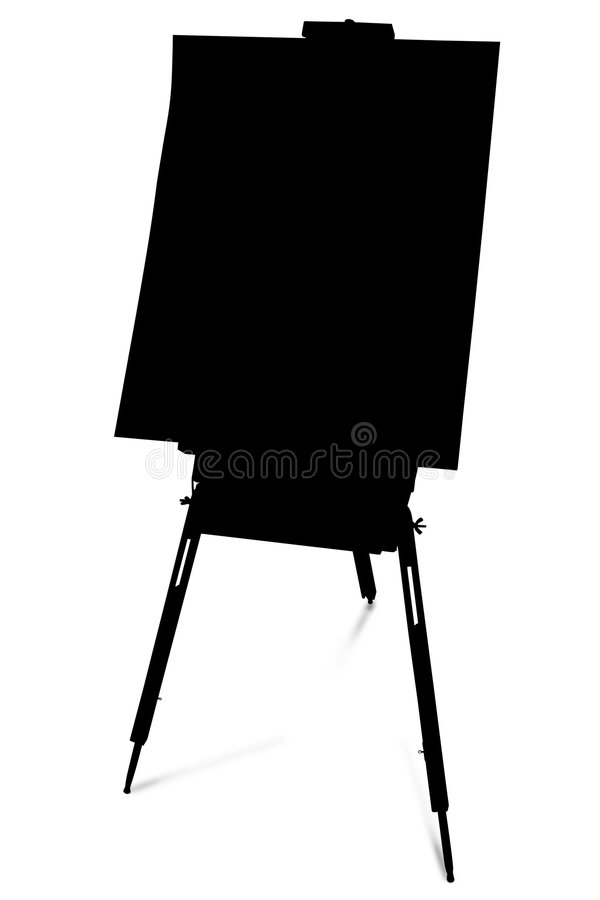 Download Silhouette With Clipping Path Of Art Easel Stock Photo - Image of people, outline: 506926