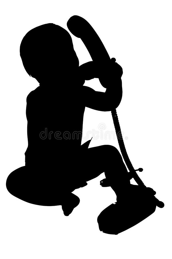 Download Silhouette With Clipping Path Of Baby With Phone Stock Photo - Image: 1379060