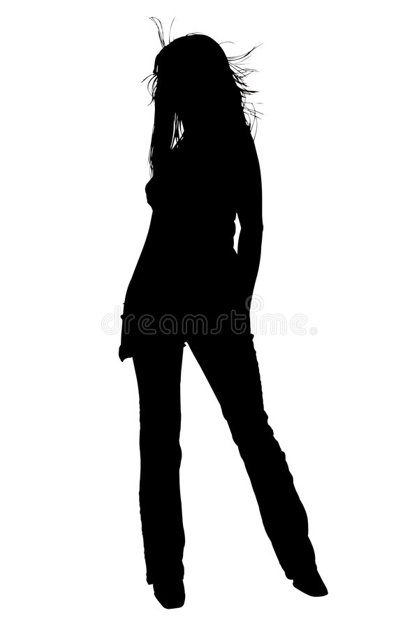 Silhouette With Clipping Path of Beautiful Young Woman With Hair vector illustration