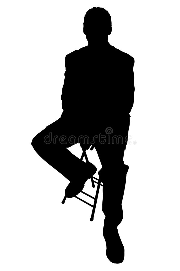 Silhouette With Clipping Path of Business Man on Stool stock illustration