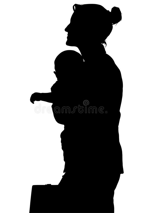 Download Silhouette With Clipping Path Of Business Woman With Baby Stock Image - Image: 1379133