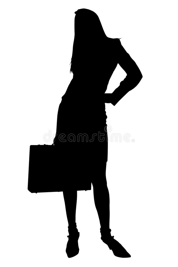 Download Silhouette With Clipping Path Of Business Woman With Briefcase Stock Illustration - Illustration of black, worker: 163713