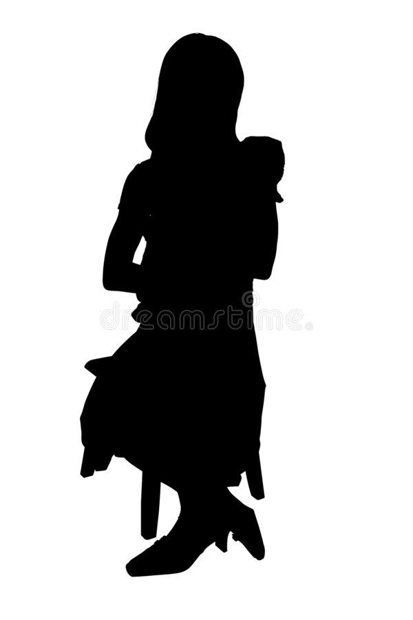 Silhouette With Clipping Path of Child and Baby vector illustration