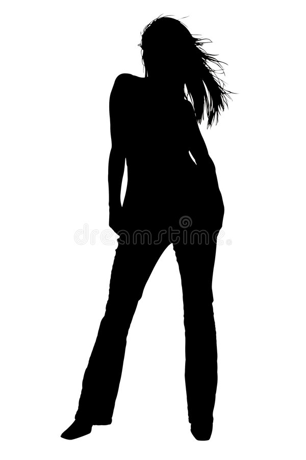 Silhouette With Clipping Path of Fashion Model vector illustration