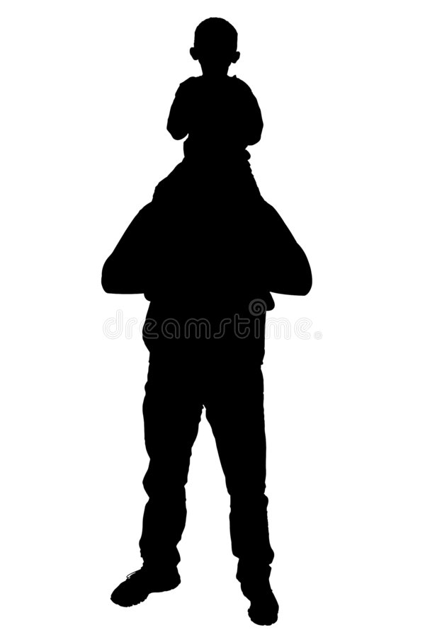 Silhouette With Clipping Path of Father and Son stock images