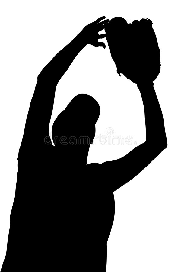 Silhouette With Clipping Path of Female Softball Player stock illustration