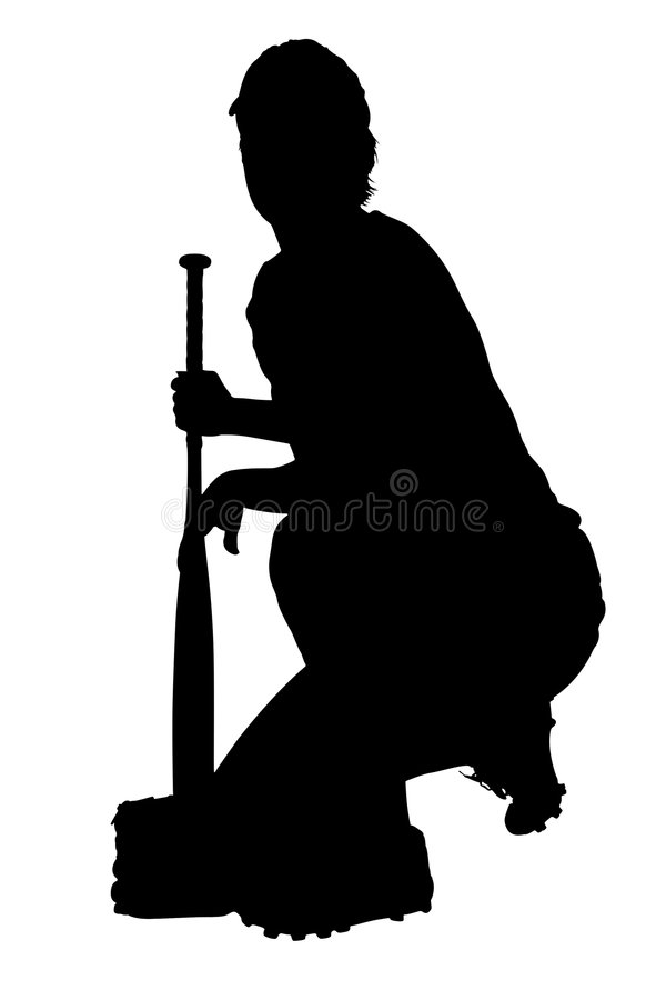 Silhouette With Clipping Path of Female Softball Player Resting