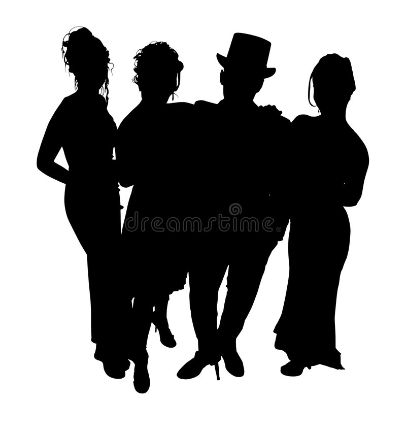 Silhouette With Clipping Path of Formal Group vector illustration