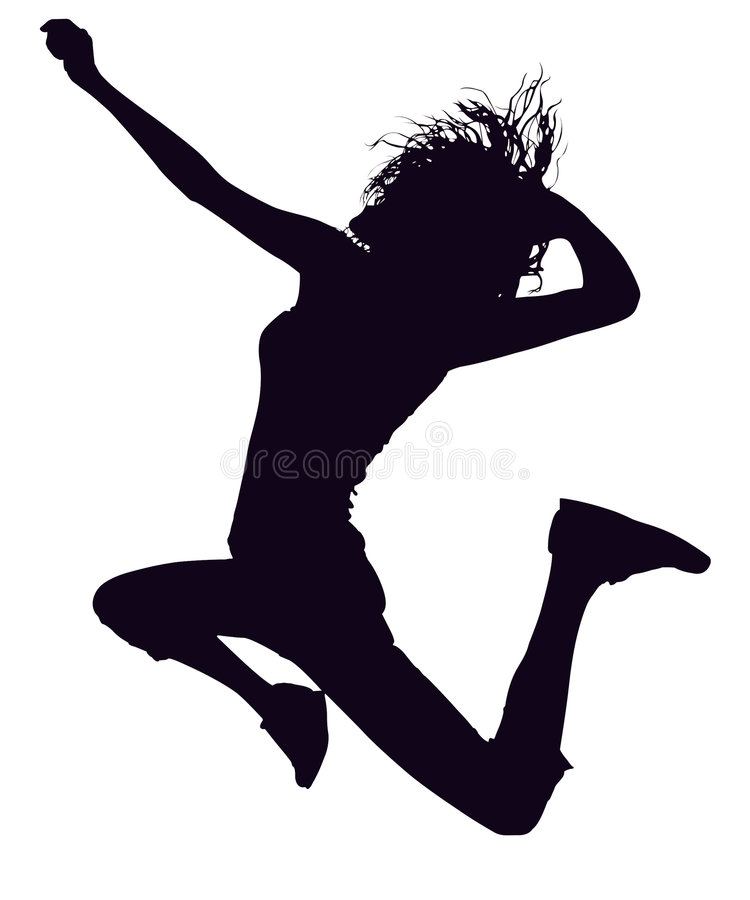 Silhouette With Clipping Path Girl Jumping royalty free stock image