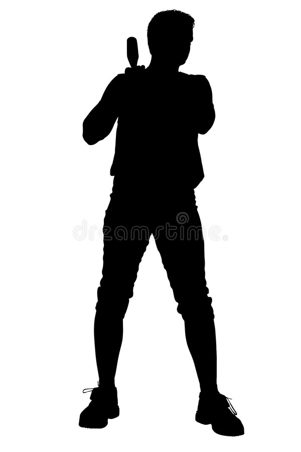 Download Silhouette With Clipping Path Of Male Softball Player Stock Illustration - Illustration: 177848
