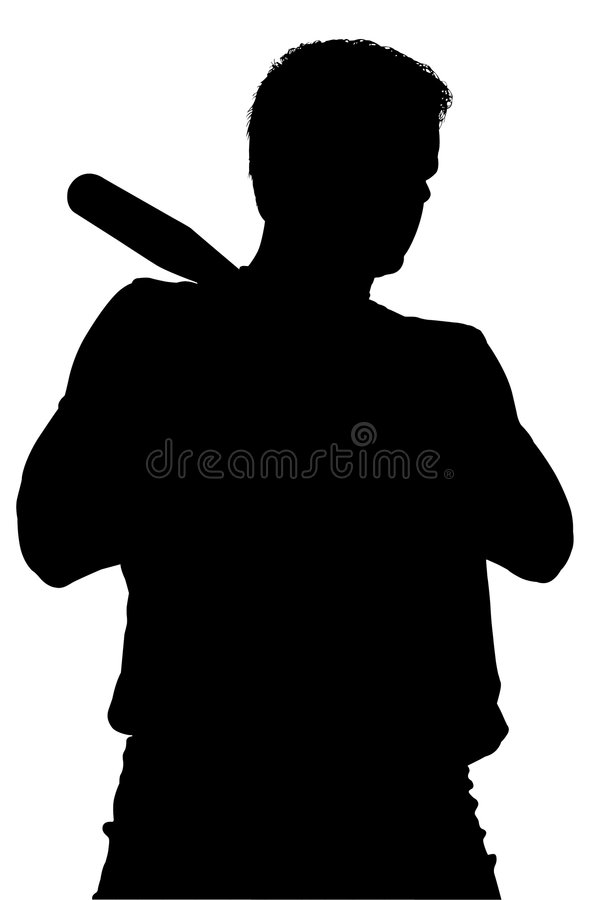 Download Silhouette With Clipping Path Of Man With Baseball Bat Stock Illustration - Image: 177850